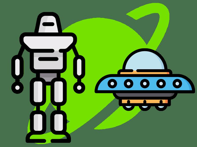 robot and spaceship illustration